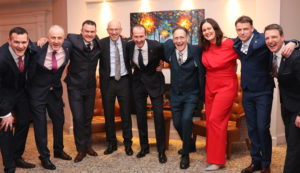 Garrett McGuiness celebrating his appointment with Hodson Bay Group Directors. Left to right: Johnny O'Sullivan (Group Operations Director), Timothy Hayes (Managing Director Hodson Bay Hotel), Aidan O'Sullivan (Group Projects & Facilities Director), Padraig Sugrue (Group CEO), Garrett McGuiness (Managing Director Sheraton Athlone Hotel), John O'Sullivan (Group Chairman), Ciara O'Sullivan (Group Corporate Finance Director), Garry Walsh (Group Commercial Director) and Dan Murphy (Managing Director Galway Bay Hotel).